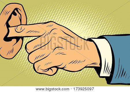Finger in the ear, not hear. Comic book vintage pop art retro style illustration vector