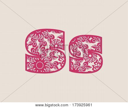 Decorative alphabet vector font. Letter S. Typography for headlines, posters, logos etc. Uppercase and lowercase symbols
