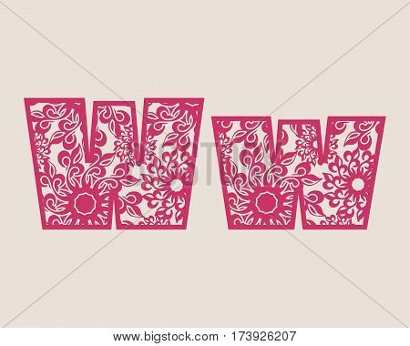 Decorative alphabet vector font. Letter W. Typography for headlines, posters, logos etc. Uppercase and lowercase symbols