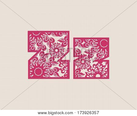 Decorative alphabet vector font. Letter Z. Typography for headlines, posters, logos etc. Uppercase and lowercase symbols