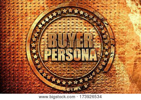 buyer persona, 3D rendering, metal text
