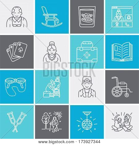 Modern vector line icon of senior and elderly care. Nursing home elements - old people, wheelchair, leisure, hospital call button, activities. Linear pictogram with editable stroke for site, brochure