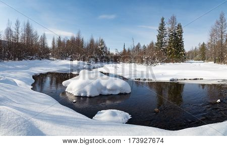 Winter landscape with reflection in the creek. South Yakutia Russia