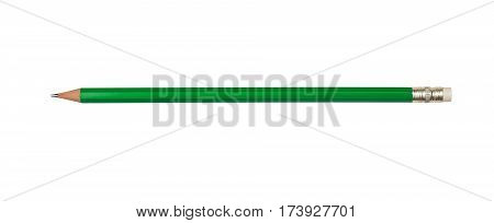 pencil green color with eraser on a white background isolated
