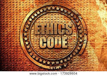 ethics code, 3D rendering, metal text