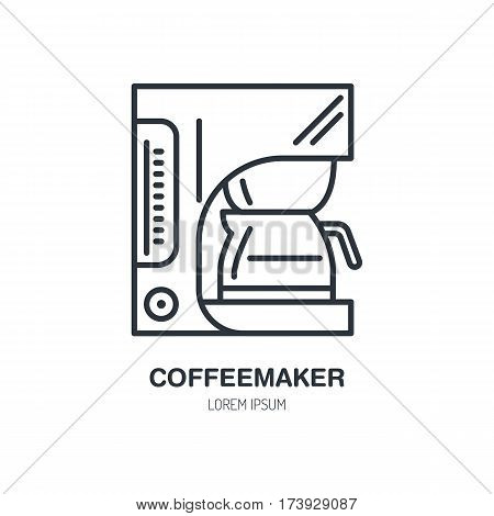 Coffeemaker, coffe machine vector line icon. Barista equipment linear logo. Outline symbol for cafe, bar, shop.