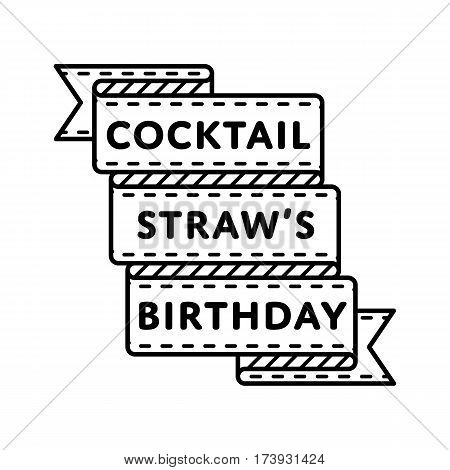 Coctail Straws Birthday emblem isolated vector illustration on white background. 3 january world holiday event label, greeting card decoration graphic element
