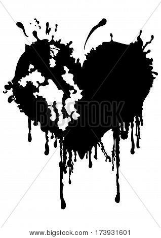 Illustration a black heart like an ink blot