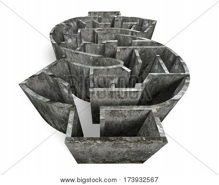 Money shape maze in old dirty concrete textured isolated on white.