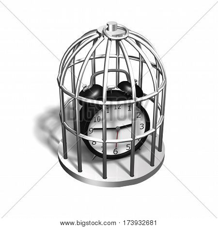 Alarm Clock In The Silver Cage, 3D Illustration