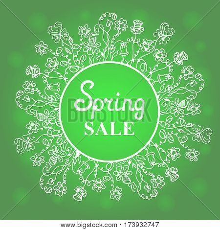 Floral wreath. Concept design spring sale for Women's Day. March 8. Happy Easter.