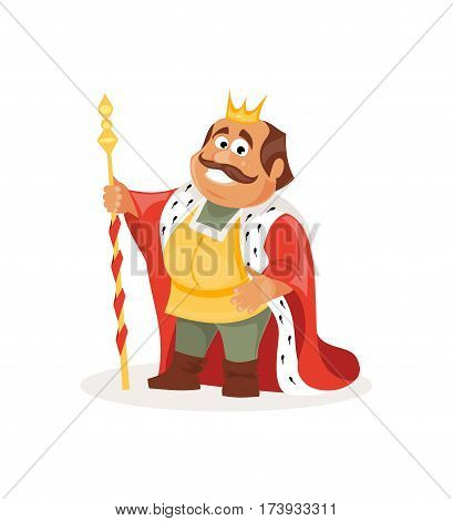 Cheerful cartoon king on a white background. Fairy tale illustration