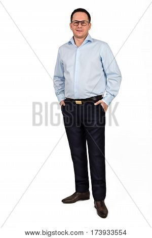 Full length portrait of young man in glasses isolated on white background