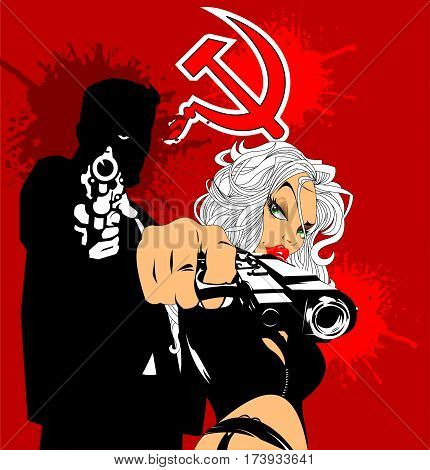 couple of spies a man and woman with gun vector
