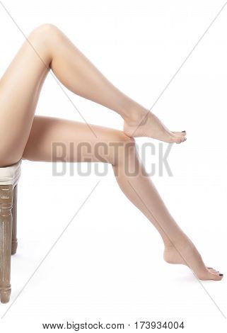 Female Legs After Depilation. Healthcare, Foot Care, Rutine Treatment. Spa And Epilation. Feet With
