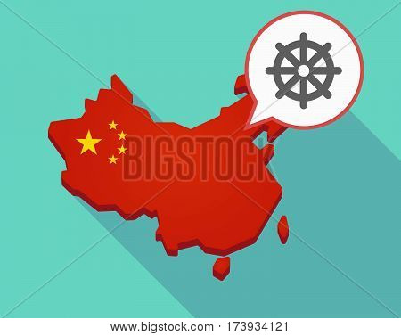 Map Of China With A Dharma Chakra Sign