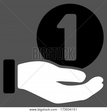 One Coin Payment Hand vector pictograph. Illustration style is a flat iconic bicolor black and white symbol on gray background.
