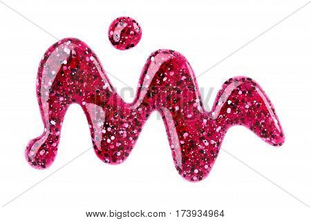 The nail varnish. Photography of spilled shimmery nail polish isolated on white background. Close up