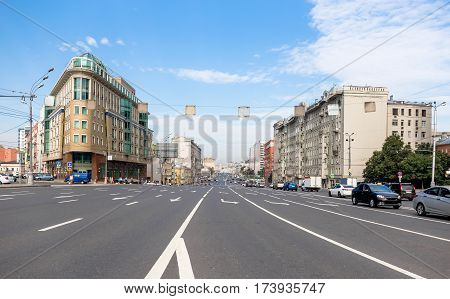 Almost empty highway in the city in Moscow