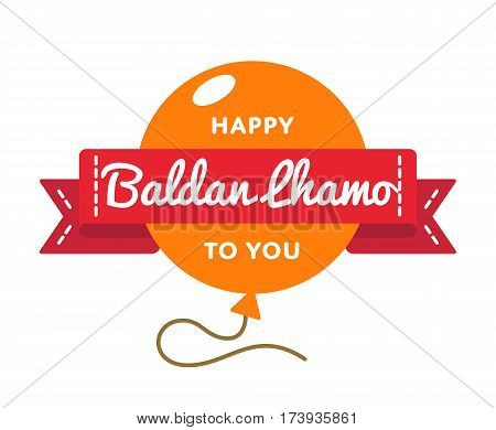 Happy Baldan Lhamo to You emblem isolated vector illustration on white background. 22 january buddhistic holiday event label, greeting card decoration graphic element