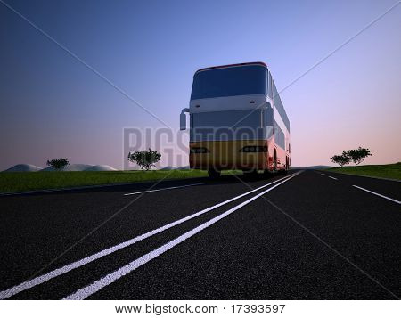 The tourist bus on a background of the sky