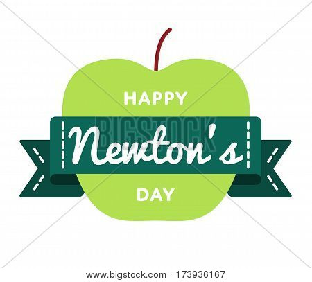 Happy Newtons Day emblem isolated vector illustration on white background. 4 january world scientific holiday event label, greeting card decoration graphic element