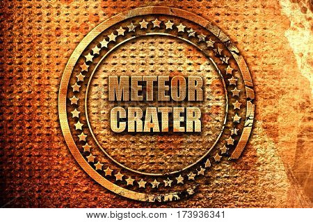 meteor crater, 3D rendering, metal text