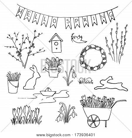 Hello Spring sketch set. First flowers and Lettering. snowdrops crocus tulips. navvy barrow paper ship watering pot gardening. Hand drawn. Brush pen. For Poster prints textile decoration blog