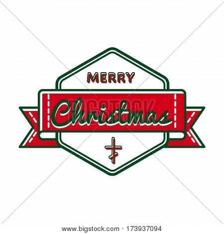 Merry Christmas emblem isolated vector illustration on white background. 7 january world orthodox holiday event label, greeting card decoration graphic element