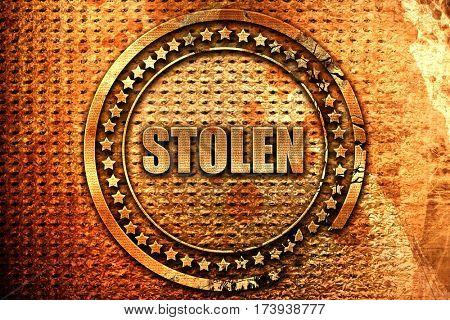 stolen, 3D rendering, metal text
