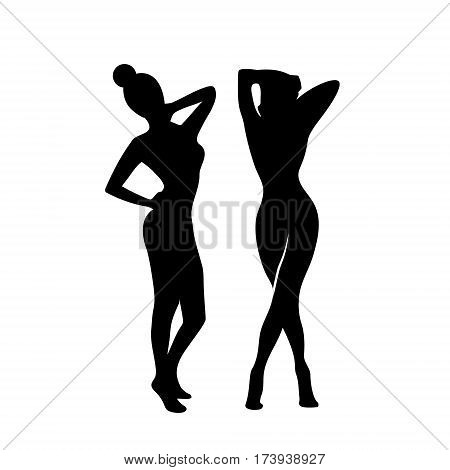 Silhouette women slim body weight loss logo isolated on white background
