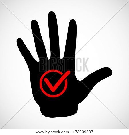 Black hand and check list button icon concept. Check mark in round sign emblem. Hands icon illustration.