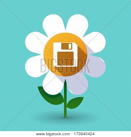 Long Shadow Daisy With A Floppy Disk