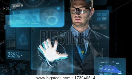 business, people, future technology and cyberspace concept - close up of businessman touching projection on virtual screen over dark background