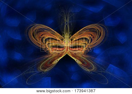 illustration in stiletto computer fractal graphic with scene of the abstract butterfly