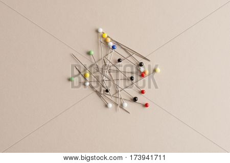 Sewing Pins With Heads Of Various Colors