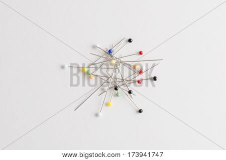 Straight Pins With Heads Of Various Colors