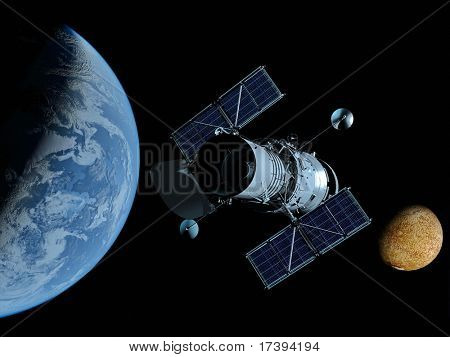 Das Raumschiff auf einem Hintergrund eines Planeten