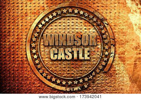 windsor castle, 3D rendering, metal text