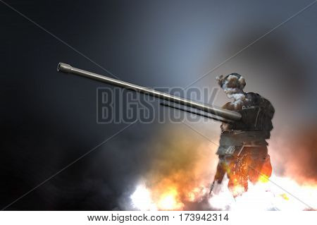 Silhouette of military soldier or officer with weapons and tank flames explosion fire smoke illustration