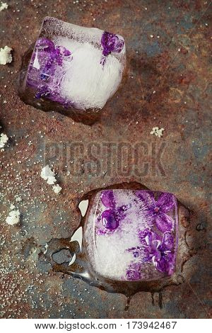 Ice cubes with lilac flowers, white sugar and sugared lilac flowers over old rusty iron background. Top view