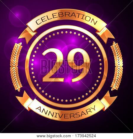 Twenty nine years anniversary celebration with golden ring and ribbon on purple background.