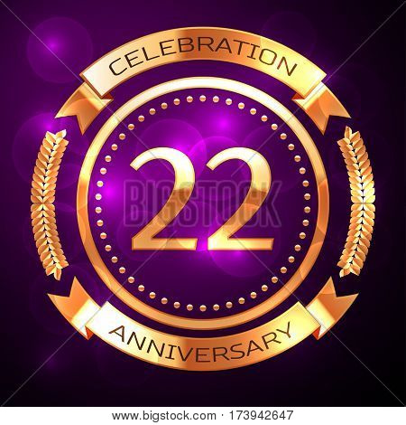 Twenty two years anniversary celebration with golden ring and ribbon on purple background.
