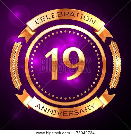 Nineteen years anniversary celebration with golden ring and ribbon on purple background.