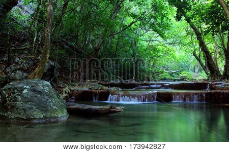 Erawan beautiful central rainforests. Forum National park Erawan Kanchanaburi, Thailand