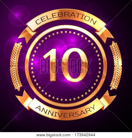 Ten years anniversary celebration with golden ring and ribbon on purple background.