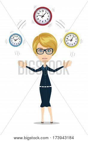 Time management concept with businesswoman. Business character with clock . Isolated on white background. Stock vector illustration