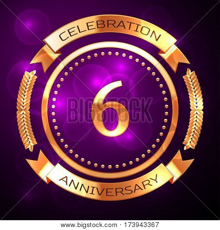 Six years anniversary celebration with golden ring and ribbon on purple background.