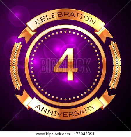Four years anniversary celebration with golden ring and ribbon on purple background.