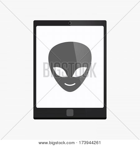 Isolated Tablet Pc With An Alien Face